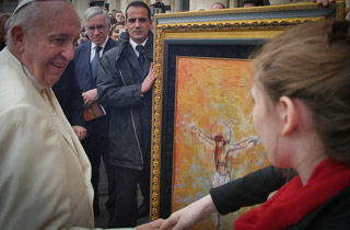 Autumn de Forest November 2015 presenting the Pope with a painting in Vatican City. Autumn's profile presents unique opportunities to give back.