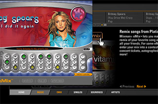 Mixman eMixes were online branded-artist interactive music experiences that allowed fans to make their own mix and e-mail it to a friend. (This was 10 years before FB-apps!)