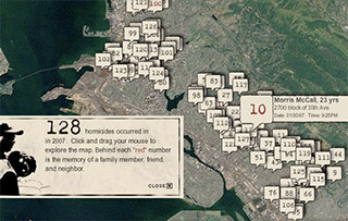 An interactive map was implemented for each victim.